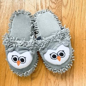 Shoes - Plush Grey Owl Slippers 7/8
